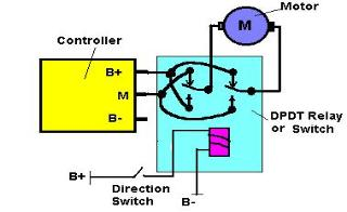 circuits small motor direction control a single dpdt relay can be used to reverse the direction of a small permanent magnet motor the contact rating of the relay